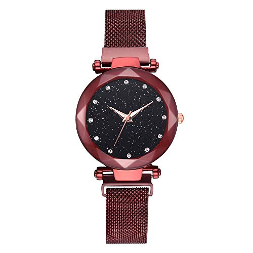 OutTop(TM) LVPAI Women's Girls Classic Luxury Inlay Diamond Starry Dial Stainless Steel Mesh Band Analog Dial Quartz Wrist Watch (Red)