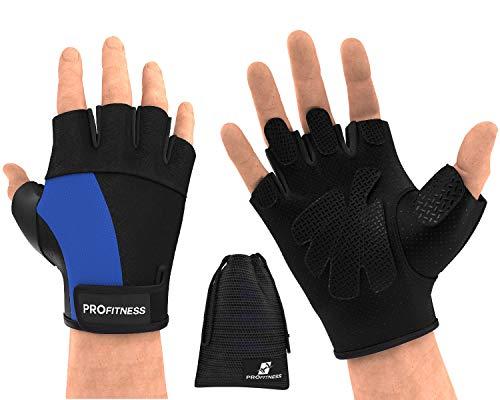 with wrist support guantillas de gimnasio para mujer hole hand grips weightlifting wrist support gym for men guantillas de gimnasio para hombre lightweight Gloves mens workout gea (Small, Black/Blue)