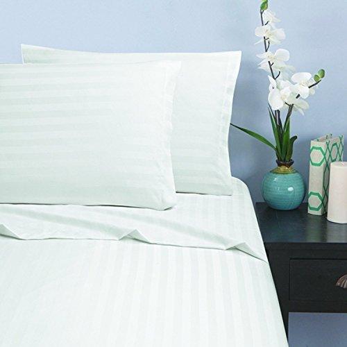 Elegant Comfort Silky-Soft 1500 Thread Count Egyptian Quality Wrinkle-Free 4-Piece Stripe Sheet Set, King White