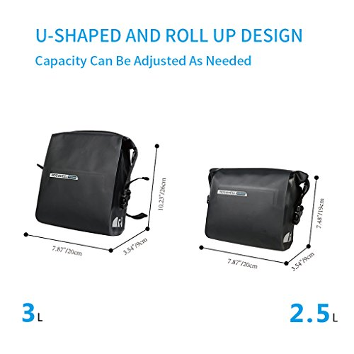 OUTON 2 in 1 Waterproof Bicycle Handlebar Bag & Shoulder Bag, Adjustable 2.5L 3L, Cycling Bike MTB Quick Release Front Basket Frame Pouch PVC Tube Bag Roll Top Front Pannier Bag