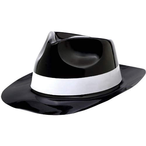 Costumes Roll Rock 50's N (Rock-n-Roll 50's Theme Party Fedora Hat with White Band Accessory, Plastic, 11