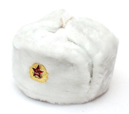 Russian Soviet Army Fur Military Cossack Ushanka Hat (White, (Russian Bomber Hat)