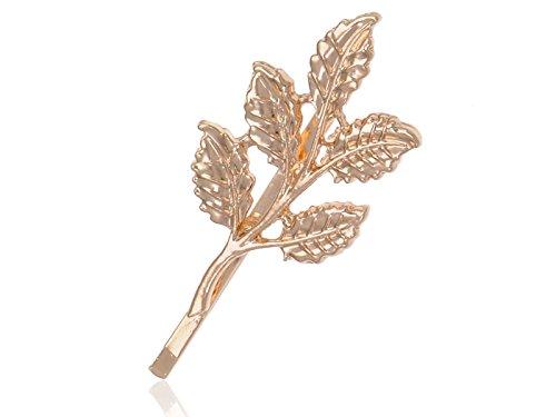 Golden Tone Petit Realistic Simple Lucky Five Leaf Stem Autumn Hair Clip Pin
