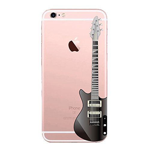 (Matop Compatible/Replacement for iPhone6 iPhone6s Case Crystal Clear Transparent Ultra Thin Slim Shockproof Protective Soft Silicone Bumper Cover Cute TPU for iPhone 6/6s 4.7 inch (Guitars))