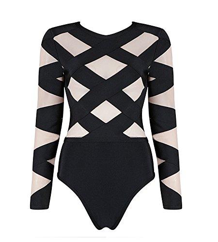 Hego Women's 2016 New Fashion Mesh Patchwork Long Sleeve Sexy Black Bandage Bodysuits Autumn H2612 (M, (Shiny Black Bodysuit)