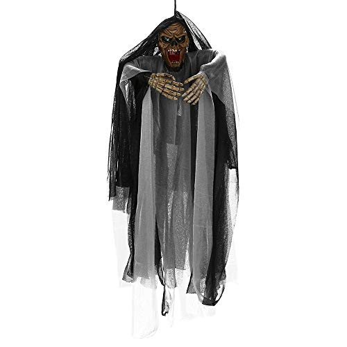 Pausseo Animated Hanging Grim Reaper Skull with Shackles Chains Best Halloween Decoration Prop Party Supplies Hanging Ghost Witch Voice Rot Light Eyes - Halloween Decoration Prop - 67 x 37 cm (B) -