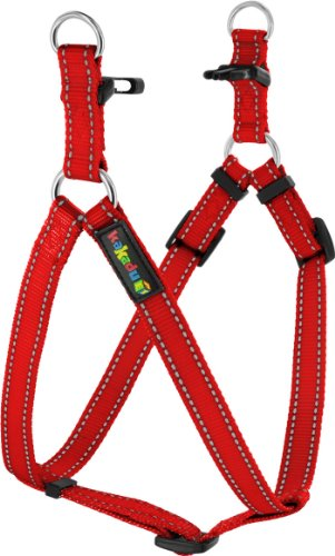 Kakadu Pet Empire Tracks Adjustable Nylon Step In Dog Harness, 3/4″ x 16-25″, Fire (Red with Gray Stitch), My Pet Supplies