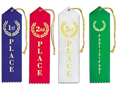 - 1st - 2nd - 3rd Place + Participant Premium Award Ribbons for Kids Bundle - 25 Each Blue, Red, White, Green Ribbon with String and Event Card Back, Trophy, Sports, School, Contests, Karate - by MJ
