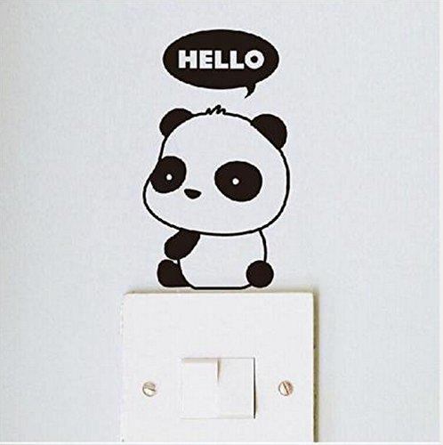 Crqes 1 Pcs HELLO Panda DIY Switch Sticker Wall Quote Wall S