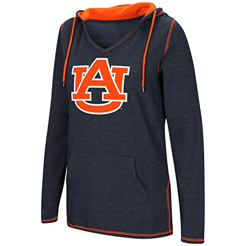 (Colosseum Women's NCAA-Scream It!- Dual Blend-Fleece V-Neck Hoodie Pullover Sweatshirt Auburn Tigers-Navy-Medium)