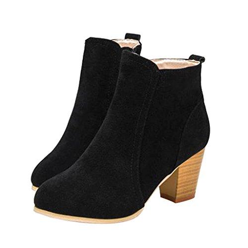 Kjære Tiden Kvinner Glidelås Blokk Hæler Ankel Boots Svart