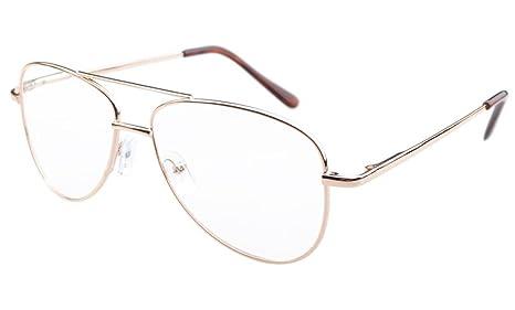 Eyekepper Gafas estilo Piloto marco de metal con bisasgras de resorte oro +0.5