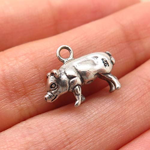 925 Sterling Silver Vintage Shube Pig/Piglet Design Charm Pendant Jewelry Making Supply by Wholesale Charms