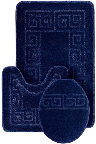 WPM WORLD PRODUCTS MART 3 Piece Bath Rug Set Pattern Bathroom Rug (20x32)/large Contour Mat (20x20) with Lid Cover (Navy)