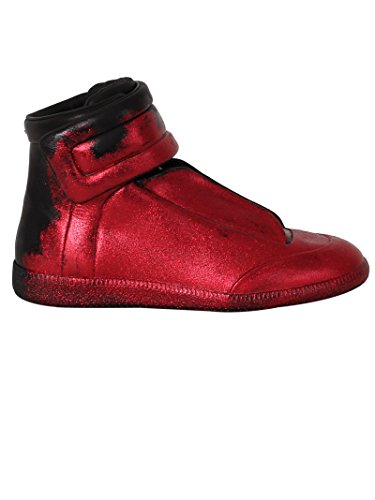 Maison Margiela Men's S57ws0154sy0623961 Red Leather Hi Top - Maison Red Margiela