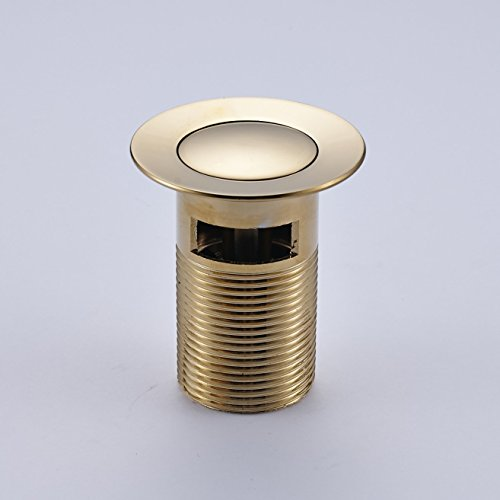 RUNYUU Bathroom Lavatory Faucet Vessel Stainless Steel Pop Up Sink Drain Stopper Drain with Overflow, Gold by RUNYUU (Image #4)