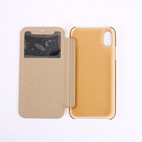 Wkae PU + PC Horizontaler Schlag-Leder-Kasten mit Anruf-Anzeigen-Identifikation für iPhone X ( Size : Ip8g8016j )