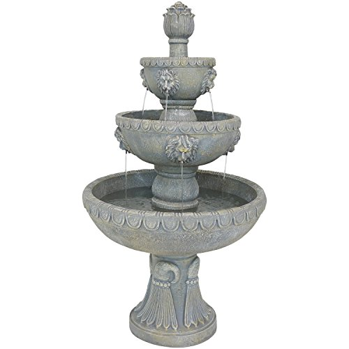 (Sunnydaze Four Tier Lion Head Outdoor Garden Water Fountain, Backyard and Patio Waterfall Feature, 53 Inch Tall)