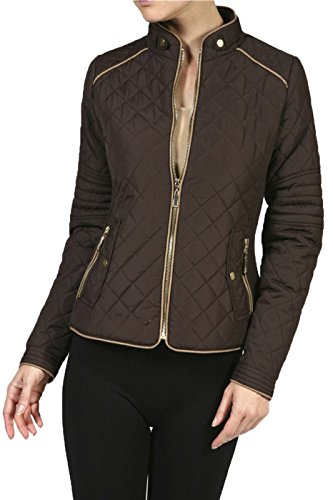 2LUV Plus Women's Plus Size Quilted Long Sleeve Zip Front Jacket – 1X Plus, Brown