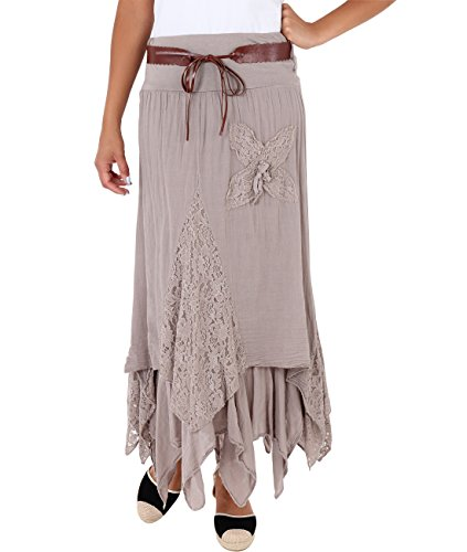 Krisp Boho Maxi Skirt (Mocha, 10),[GYP7844-MOC-14]