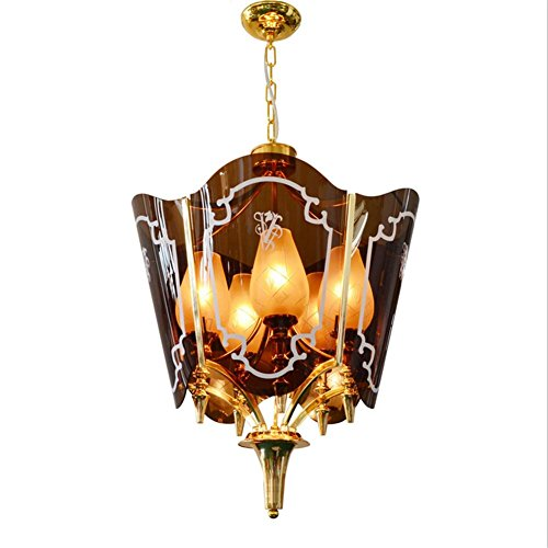Crystal Flush Mount Gold Plated (Creative Acrylic Pendant Light Gold-plated Industry Chandeliers Cafe Bar Living Room Villa Personality Pendant Lamp, 220v)