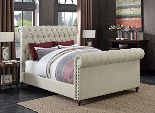 Coaster Home Furnishings 300652KE Upholstered Bed, Beige