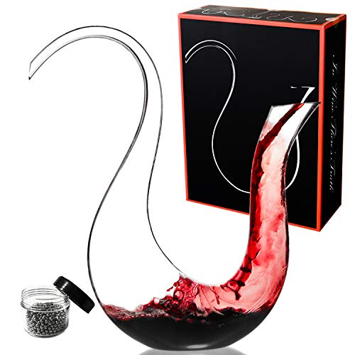 Amazing Home Swan Wine Decanter 100% Hand Blown Lead-free Crystal Glass, Prepackaged Red Wine Carafe, Wine Gift, Wine Accessories, Luxury Gift Box Wrapped and Free Cleaning Beads Set