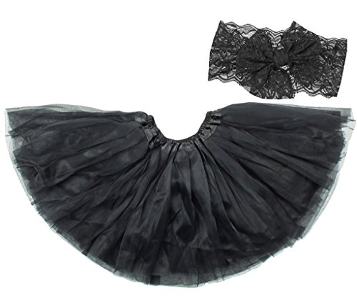 Price comparison product image Dancina Tutu Headband Set Classic Lace Flower Photography Prop Cake Smash Outfit 2-7 Years Black