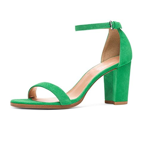 EDEFS Womens Open Toe Ankle Strap Block Heel Sandals Chunky Heels Summer Shoes Green qgGu8EX