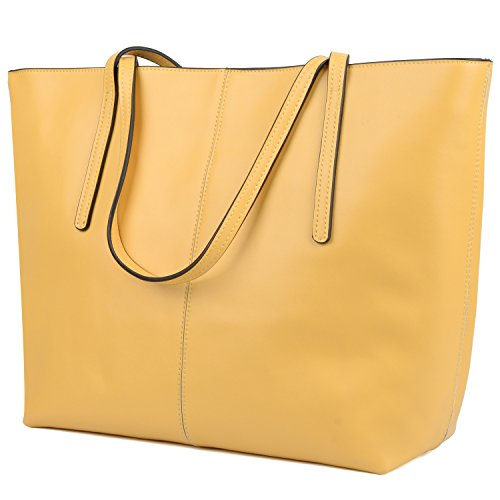 Handbag Yellow Genuine Women's Leather Yaluxe 2018 Top Simple Bags Updated Handle Tote Version Inspired Designer wn6xPP