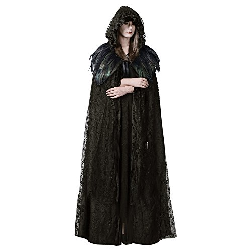 Homelix Steampunk Womens Witch Cape Black Hooded Lace Feather Long Cloak Halloween Costume