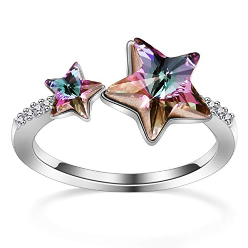- PLATO H Star Crystal Rings, Adjustable Star Rings with Crystal from Swarovski, Girls Woman's Star Statement Rings