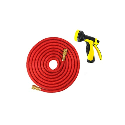 25-75FT Expandable Flexible Garden Water Hose for Car Hose Pipe Plastic Hoses Garden Set to Watering with Spray Gun,75ft,EU Red