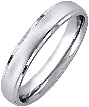 Sterling Silver 4.5mm Dome Brush Finish Center Polished Shiny Edge Ring - (Size 5-12)