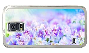 Hipster Samsung Galaxy S5 Cases discount purple white flowers PC Transparent for Samsung S5
