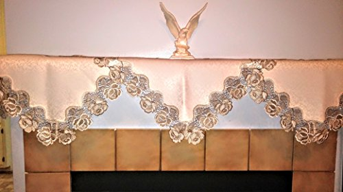 Fireplace Mantel Scarf with Taupe and Antique White Lace Roses Handmade, Size 80 x 20 inches (Scarves Mantel)