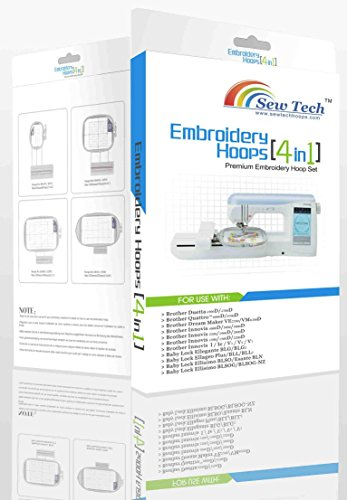 Sew Tech 4 in 1 Hoop - Brother (SA437/438/439/SA441) Baby Lock (EF73/EF74/EF75/EF81) - 4 Hoops Included! by SewTech