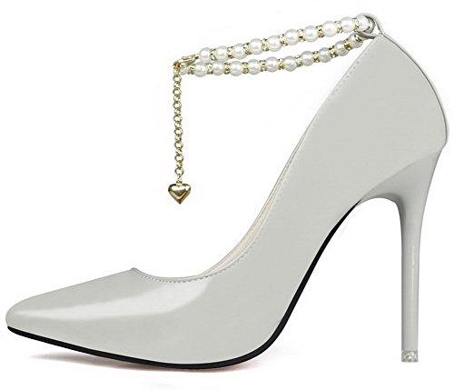 Ageemi Skor Kvinna Mjuk Material Spikar-stiletter Pekade-toe Fasta Pumpar-shoes Med Juveler Grå-juveler