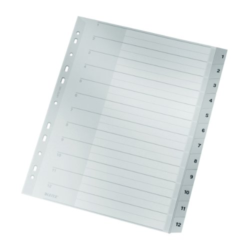 Leitz Plastikregister (1-12, A4, PP, 12 Blatt) grau grau grau (1-12, A4, PP, 12 Blatt, grau, 10) B000KJOKXY | Erste Qualität  cf9468