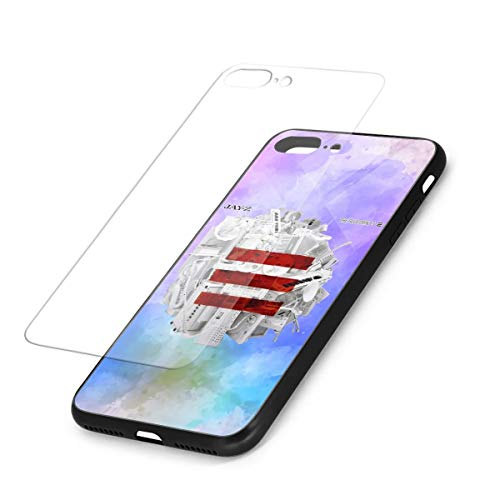 AlbertoJCampbell Jay-Z Phone 7 Plus/iPhone 8 Plus Case,9H Glass Back Cover & Soft Silicone Bumper Shock Absorption
