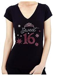SWEET 16 Pink Crown Rhinestone/ stud T-Shirts X LARGE/ V