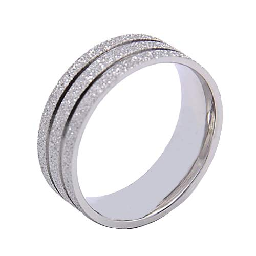 UNICRAFTABLE 10pcs 304 Stainless Steel Textured Rings Silver Tone Stackable Eternity Ring Prime Comfort Fit Unisex Wedding Band Ring Wide 7mm
