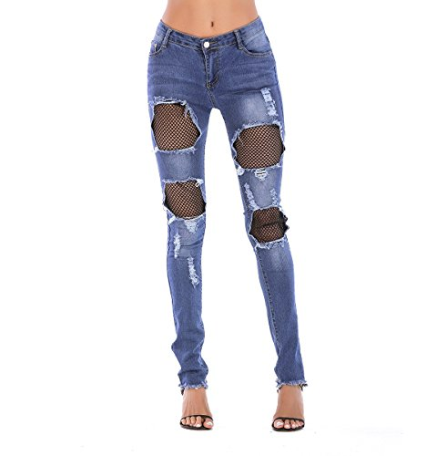 Oudan Jeans Skinny Jeans Pantalon Mesh Patchwork Pantalons d't  Glissire Taille Haute Jeans de la Femme Hip Jeans Skinny Jeans avec Trous Bleu
