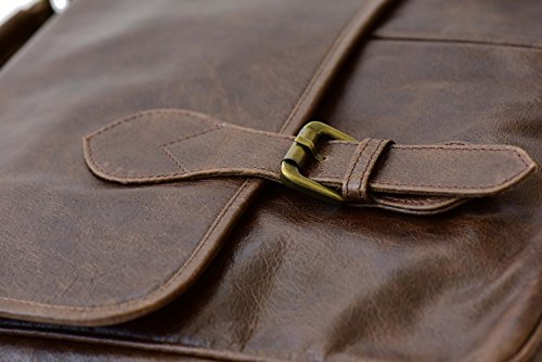 The Aartisan 16.5'' Vintage Pocketed Genuine Leather Messenger Laptop Briefcase (Brompton Cocoa) Shoulder Canvas Leather Satchel Bag Free Gift Included Multi Purpose Use by THE AARTISAN (Image #4)