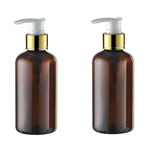 2PCS 220ml 7.4oz Refillable Empty Plastic Brown Cream Lotion Dispenser Spray Pump Bottle Jars Makeup Cosmetic Bath Shower Shampoo Liquid Soap Toiletries Containers ()