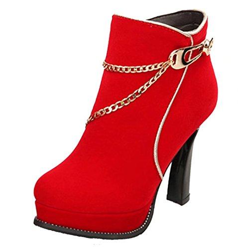 Stiefel Ankle Warm Herbst Winter Plateau Stiefeletten AIYOUMEI Schuhe Rot Damen High Heels Boots mit Elegant Kette RSROwBq