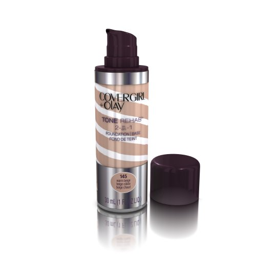 COVERGIRL and Olay Tonerehab 2-In-1 Foundation, Warm Beige 145, 1 Fluid Ounce (packaging may vary)
