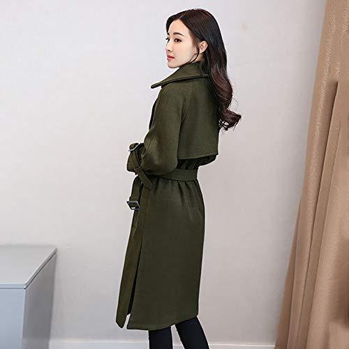 Couleur Automne Manteau 1pcs Slim vent Trench Longue Hiver Veste Et Unie Armygreen coat Coupe Femme Xn4qzBT