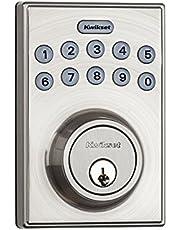 Kwikset 92640-001 Contemporary Electronic Keypad Single Cylinder Deadbolt with 1-Touch Motorized Locking, Satin Nickel