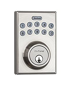 picture of Kwikset 92640-001 Contemporary Electronic Keypad Single Cylinder Deadbolt with 1-Touch Motorized Locking, Satin Nickel